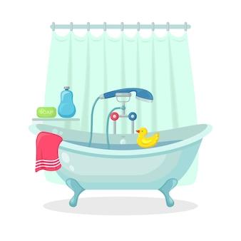 Bad vol schuim met bubbels geïsoleerd op de achtergrond. badkamer interieur. douchekranen, zeep, badkuip, badeend en roze handdoek. comfortabele uitrusting om te baden en te ontspannen