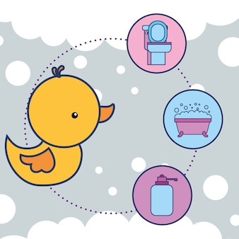 Badeend speelgoed toilet badkuip en vloeibare zeep