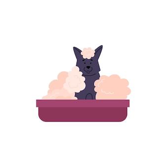 Badende hond stripfiguur zitten in bad platte vectorillustratie geïsoleerd