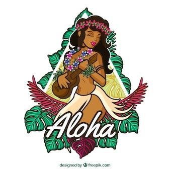 Badge achtergrond met handgetekende hawaiiaans