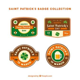 Badge-collectie voor st patricks-dag