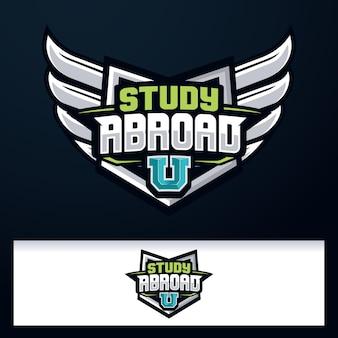 Badge embleem wings logo study abroad logo