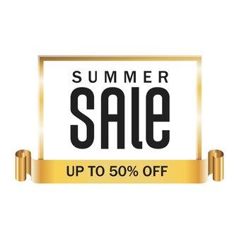 Badge gouden frame en lint met zomer verkoop belettering en korting