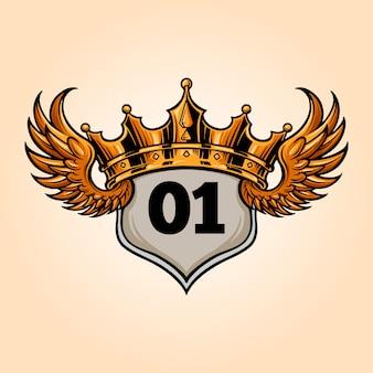 Badge king flying crown vintage illustraties