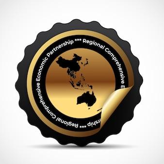 Badge met de rcep-kaart van het moderne regionale uitgebreide economische partnerschap.