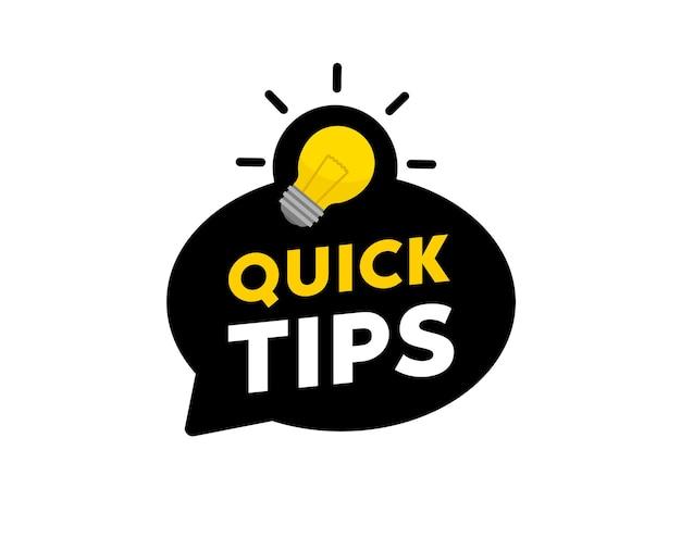 Badge met snelle tips. vector illustratie