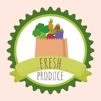 Badge met verse producten