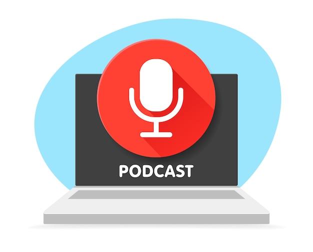 Badge-microfoon voor podcast en laptopcomputer. illustraties. radio microfoon. digitale inhoud. podcast-symbool dat voor elk platform en doel kan worden gebruikt.