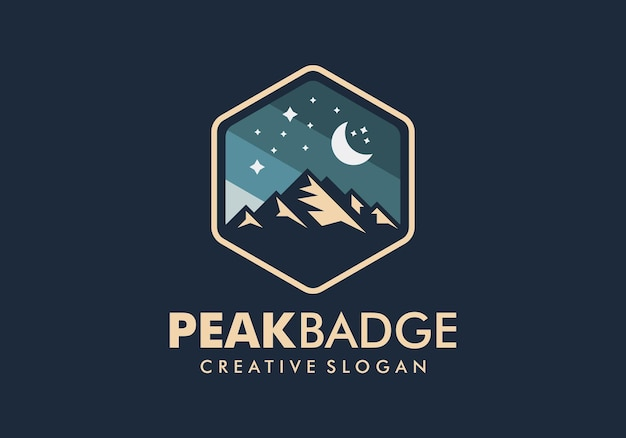Badge mountain logo ontwerpsjabloon