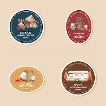 Badge-ontwerpset met herfstkampeerconcept, aquarelstijl