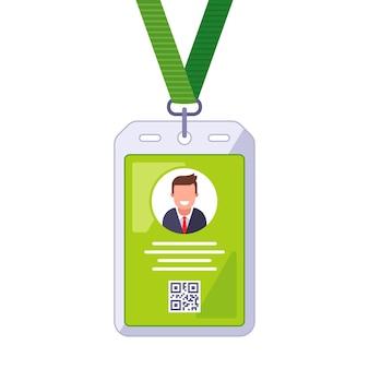 Badge op de nek voor persoonlijke identificatie. platte vectorillustratie.
