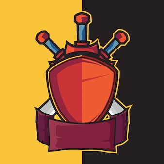 Badge shield en zwaard voor esport logo design elementen