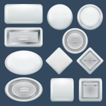 Badge souvenir mockup set. realistische illustratie van 10 modellen van de kentekenherinnering voor web