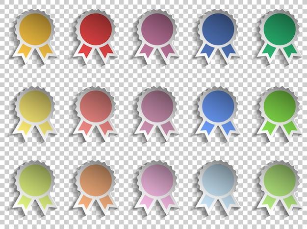 Badge winnaar verschillende kleur lint award sjabloon op papier knippen stijl