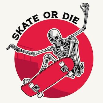 Badgeontwerp met schedel die truc doet met skateboard