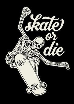 Badgeontwerp van schedel die geniet van skateboarden