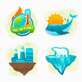 Badges en labels voor klimaatverandering met kleurovergang