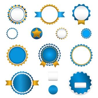 Badges, etiketten en stickers zonder tekst op de detailhandel. ontworpen in blauwe kleuren.