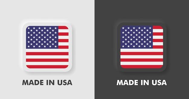 Badges gemaakt in de vs met amerikaanse vlag