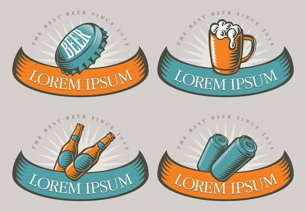 Badges met bier illustraties