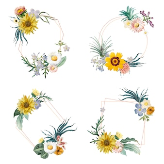 Badges met bloemmotieven
