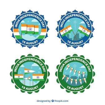 Badges met vlaggen voor de onafhankelijkheidsdag van india