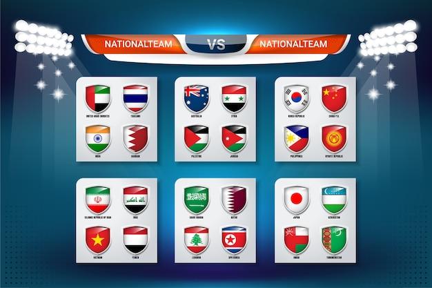 Badges set van nationale ploeg voor aziatische voetbal cup