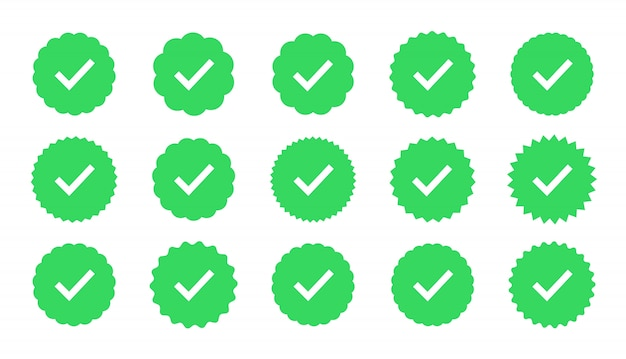 Badges van garantie, goedkeuring, accept en kwaliteit. vlak vinkje. profielverificatie teken.