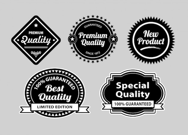 Badges van premiumkwaliteitsetiketten.