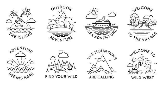 Badges voor avonturenlijnen. outdoor reizen logo's en emblemen met berg, hut in bos, tropisch eiland, dorp en oceaanstomer, vector set. welkom in het wilde westen, zeereis of reis