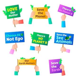 Badges voor klimaatverandering met kleurovergang