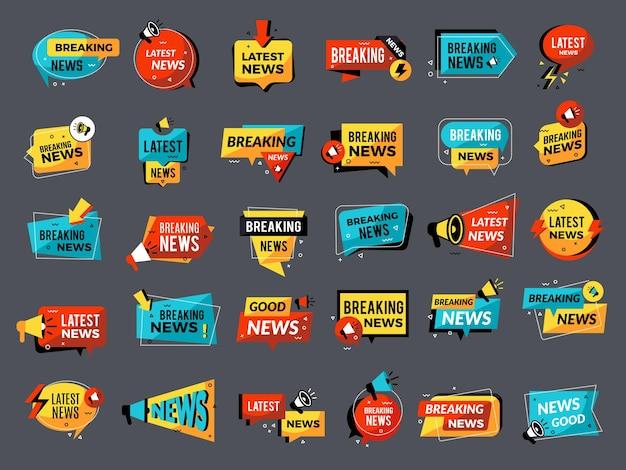 Badges voor nieuwsaankondigingen. prijs omlaag verkoop winkel korting megafoon symbolen promo set.