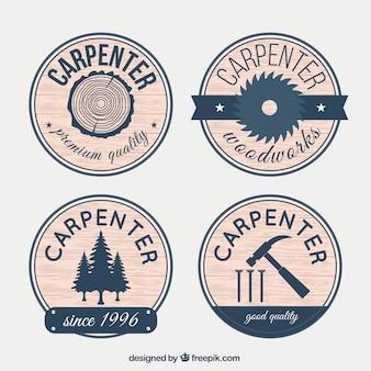 Badges voor timmerwerk met hout effect
