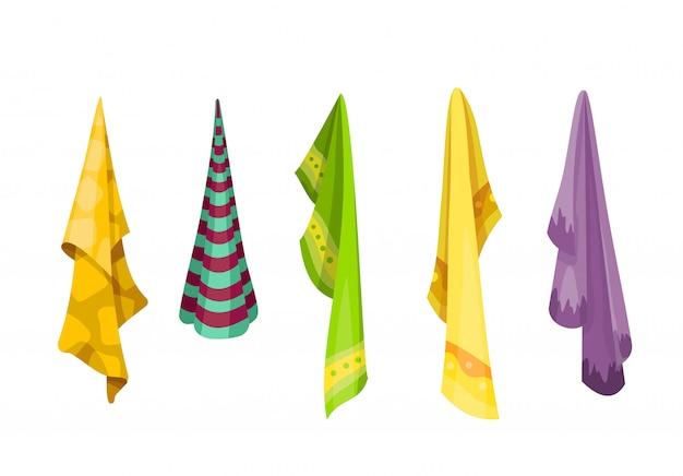 Badhanddoek. cartoon handdoeken set. doekhanddoek voor bad, illustratie van de handdoek van de beeldverhaalstof voor hygiëne