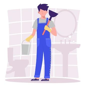 Badkamer. een mannelijke loodgieter in overall houdt een emmer en een zuiger vast. illustratie in de platte ontwerpstijl.