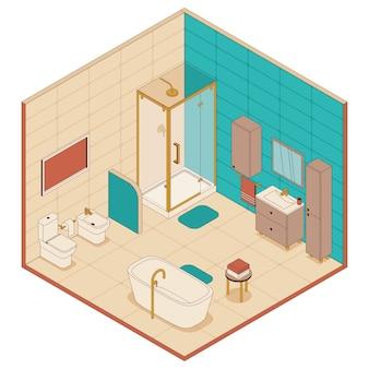 Badkamer in isometrische stijl. douchecabine, ligbad en toilet