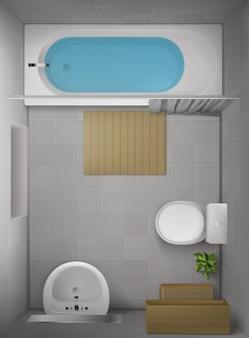 Badkamer interieur, bovenaanzicht
