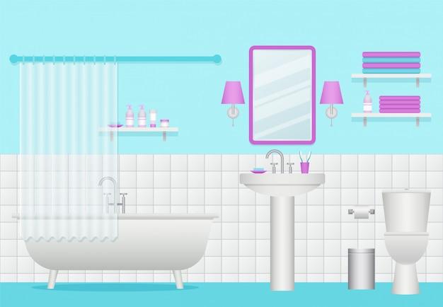 Badkamer interieur, kamer met bad, wastafel en toilet,