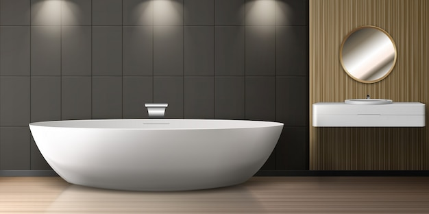 Badkamer interieur met bad, wastafel en ronde spiegel