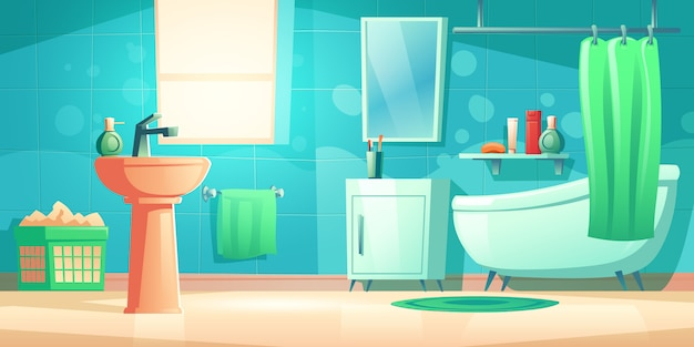 Badkamer interieur met ligbad, wastafel en spiegel