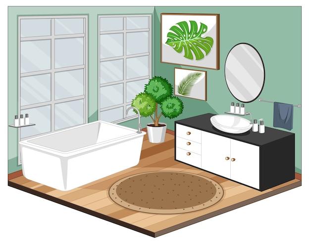 Badkamer interieur met moderne meubelstijl Gratis Vector