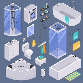 Badkamer isometrische set achtergrond