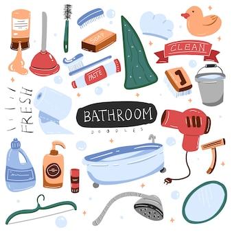 Badkamer kleurrijke doodle