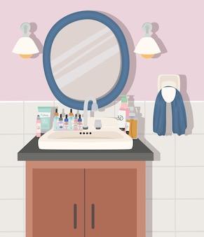 Badkamer met een illustratie van huidverzorgingsproducten