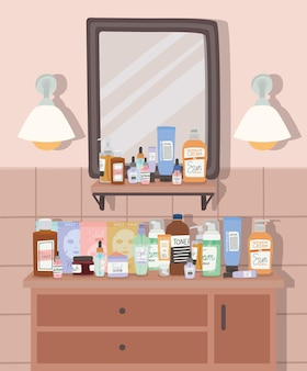 Badkamer met spiegel en meubel met drie laden illustratie