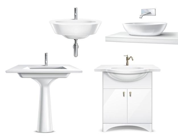 Badkamer objecten realistische 3d-collectie met geïsoleerde witte keramische hulpstukken voor bad en toilet