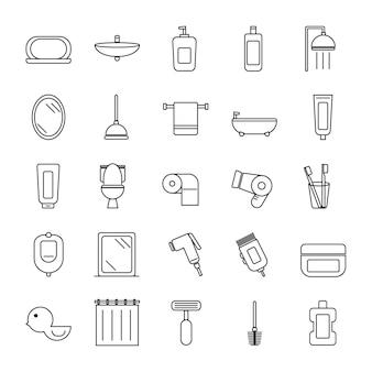 Badkamer pictogrammen toilet pictogrammenset geïsoleerd op een witte achtergrond