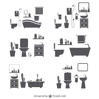 Badkamer silhouetpictogrammen