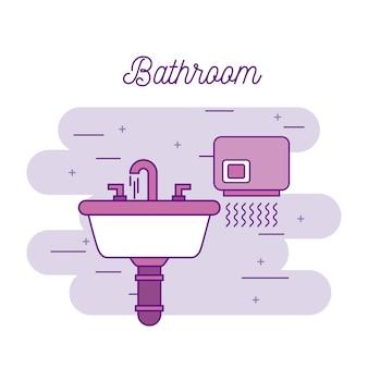 Badkamer wastafel en handendroger apparatuur