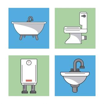 Badkamerelementen zinken boiler en toilet en badkuip